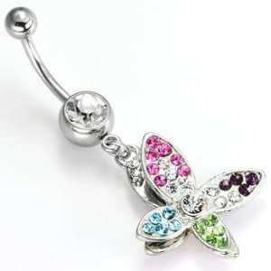 Single Gem Navel Jewelry Multi Color Gem Double Butterfly  14g 3/8
