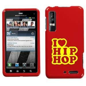XT862 YELLOW I LOVE HIP HOP ON RED HARD CASE COVER