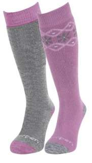 Lorpen girls ski socks Merino Wool over the calf orchid grey 2 pairs