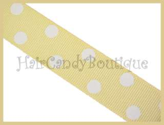 IVORY CREAM WHITE POLKA DOT GROSGRAIN HAIR BOW RIBBON 7/8 2Y