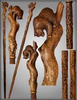 TOP ART AUTHORS HANDLE CARVED CRAFTED REAL OAK WOOD WALKING STICK CANE