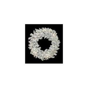 LED Flocked White Spruce Christmas Wreath   Warm Clea