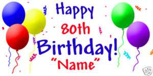 80th Birthday Party PERSONALIZED CUSTOM 80 BANNER SIGN