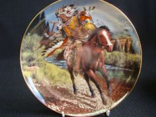 FRANKLIN MINT AMERICAN INDIAN CHARGING WARRIOR PLATE
