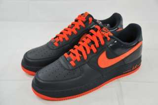 NIKE AIR FORCE 1 LOW PREMIUM 318775 481 PATENT BLACK LEATHER ORANGE Sz