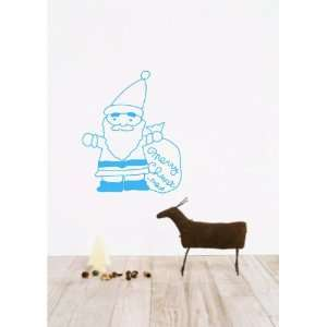 Large  Easy instant decoration wall sticker wall mural  Santa gift bag