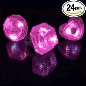 Huge Pink Gem Lighted Rings, 3 Assorted Styles (Set of 24