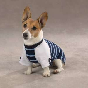 Small/Medium Blue Athletic Fit Rugby Striped Dog Shirt