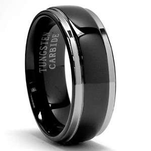 Two Tone Black Tungsten Ring Wedding Band Size 7 Jewelry