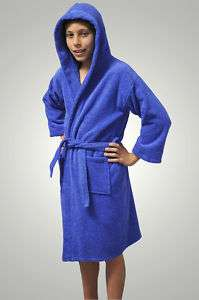 GIRLS AND BOYS KIDS TERRY TURKISH ROBES BATHROBES BLUE