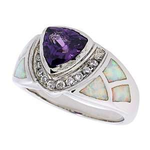 Ring Sterling Silver, Synthetic Opal Inlay Ring, w/ Trillion Cut