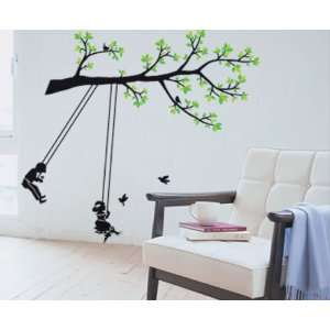 Tree with Kids Swing Wall Sticker Decal for Baby Nursery