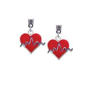 Red Heart with Rhythm Line Clear Swarovski Post Charm