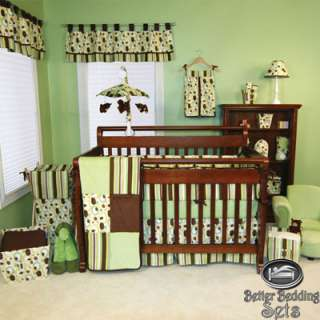 Baby Boy Girl Neutral Kid Brown Green Dot For Crib Nursery Newborn