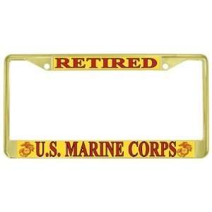 USMC Marine Corps Retired Gold Tone Metal License Plate Frame Holder