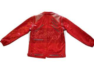 MJ BEAT IT RED PATENT LEATHER Jacket Sz S/M/L/XL/XXL