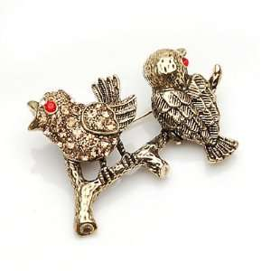 Lady Pin Brooch Brass Twitty Bird Beautiful and The