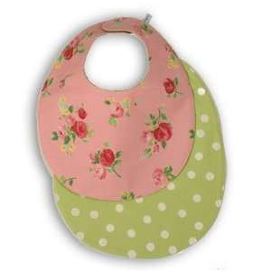 Baby Bib  Pretty in Pink Floral Green Polka Dots for Baby Girl Baby