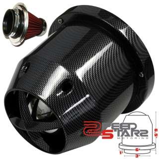 CARBON FIBER STYLE 150MM TURBO COLD AIR INTAKE WASHABLE FILTER+HEAT