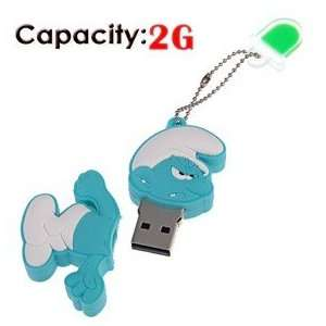 2G Rubber USB Flash Drive with Shape of Angry Smurfs Electronics