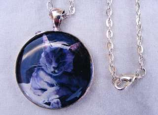 Russian Blue Cat Jewelry Art Necklace pendant christmas gift handmade