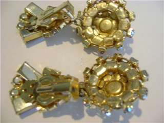 Vtg Juliana Aurora Borealis Rhinestone Dangle Clip On Earrings 2 long