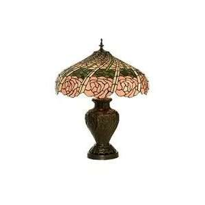 Meyda Tiffany 81461 Rose Swirl   Three Light Table Lamp