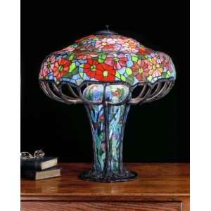 Meyda Tiffany 50352 Zinnia   Three Light Table Lamp, Mahogany Bronze