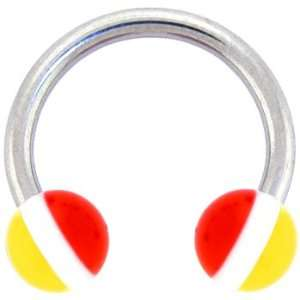 Yellow White Red Striped Horse Shoe Circular Barbell