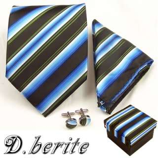 MENS NECK TIE NECKTIES HANKY CUFFLINK GIFT BOX SET TZ12
