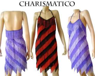 red Black Drag TANGO CHA Latin salsa FRINGE dance dress