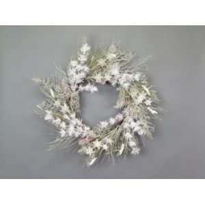 Snow Drift White/Green Snowflake/Pine/Cone Christmas Wreaths   Unlit