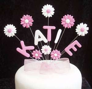 CHRISTENING/HOLY COMMUNION NAME CAKE TOPPER WITH DASIES