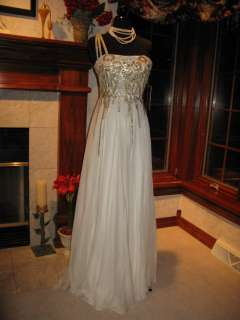 Sherri Hill 2496 Ivory Gold Winning Pageant Gown Dress 14