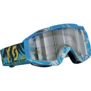 Scott USA Hustle Goggles Strobe Blue and Yellow/Silver Chrome Lens
