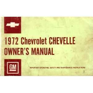 1972 CHEVROLET CHEVELLE Owners Manual User Guide