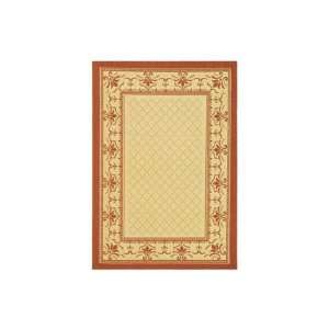 Natural and Terracotta Indoor/Outdoor Square Area Rug, 6 Feet 7 Inch