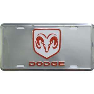 Dodge Ram Logo metal mirror background auto tag 6 x 12 with universal