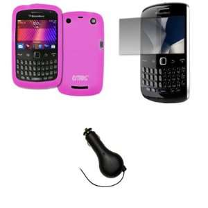 Hot Pink Silicone Skin Case Cover + Screen Protector + Retractable