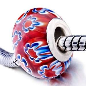 Red Blue Flower Murano Glass Beads Pandora Chamilia Biagi
