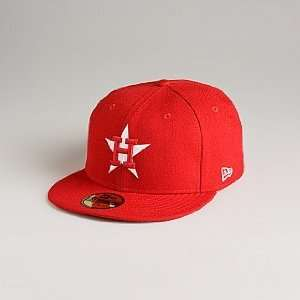 New Era Houston Astros League Basic Scarlet Red/White Fitted Hat (7 1