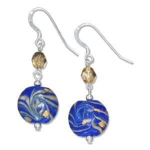 Sterling Silver Blue Glass with Gold Swirl Earrings Jewelry