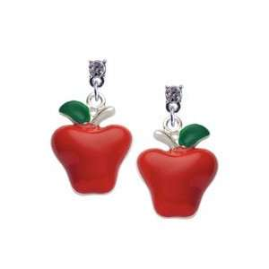 Red Enamel Apple Clear Swarovski Post Charm Earrings Arts