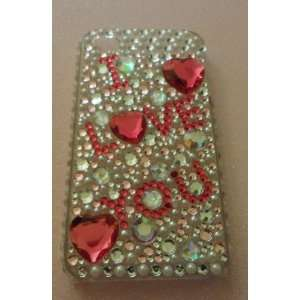 iPhone 4 Case I Love You Hot Pink Diamonds Blink Protector