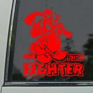 FIRE FIGHTER Red Decal Window Red Sticker Arts, Crafts & Sewing