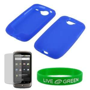 com Dark Blue Silicone Skin Case and Screen Protector for HTC Google