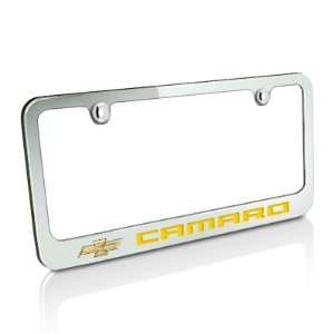 Chevrolet 2010 up Yellow Camaro Chrome Metal Auto License