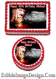 HORROR FREDDY KRUEGER SCARY Birthday Edible Party Cake Image Cupcake