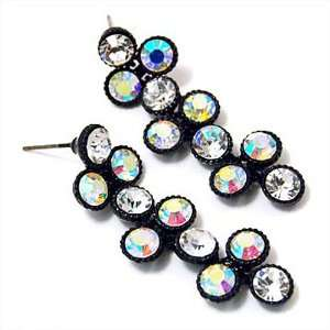 Aurora Borealis Rhinestone Bubble Black Ceramic Coated