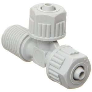 Tube Fitting, Tee Adapter, Gray, 5/16 Tube OD x 5/16 Tube OD x 1/4